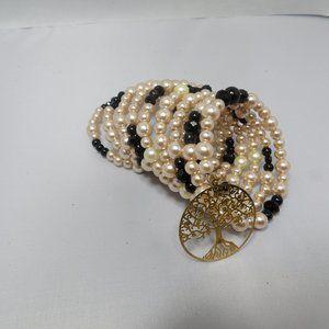 Jewelry - Pearls Bracelet Memory Wire Beads Tree of Life